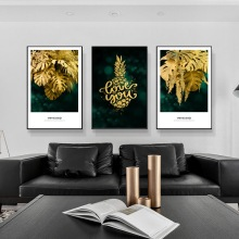 Posters And Prints Abstract golden leaves  Wall Artwork Canvas Modular Pictures Nordic Home Decoration Paintings