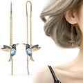Уникальные длинные висячие серьги, подвеска в виде птицы, серьги с кисточками и кристаллами, Женские Ювелирные изделия, дизайнерские серьги