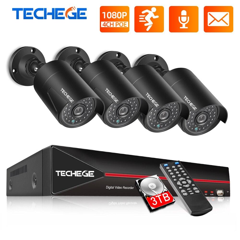 Techege H 265 4CH 1080P POE NVR Kit Security Camera CCTV System Outdoor Audio Record IP Camera P2P Video Surveillance Set