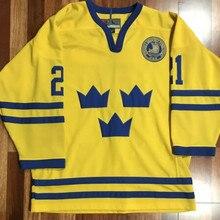 21 PETER FORSBERG Team Sweden Retro throwback хоккейная трикотажная вышивка сшитая под заказ любое количество и имя