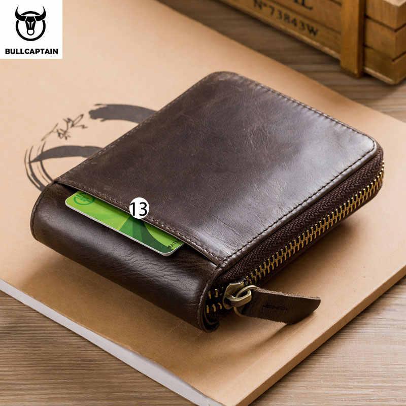 BULLCAPTAIN Männer Echtes Leder Marke RFID Brieftasche Männlichen Organizer Geldbörse Taschen Dünne Fashion Zipper Clamp Brieftasche Karte Halter