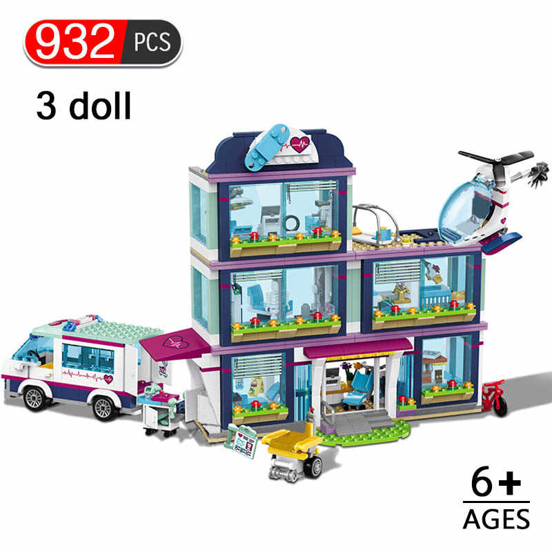 932pcs Heartlake City Hospital Model Building Blocks Girls Friends  Bricks Compatible with LegoINGLYS Figures Toys for Children