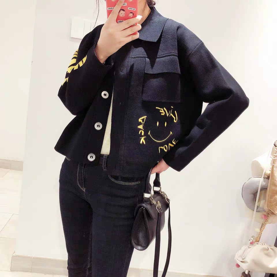 Preppy Style Smiley Face Embroidered Women Jacket Turn-down Collar Long Sleeve Knitted Women's Jacket Tops