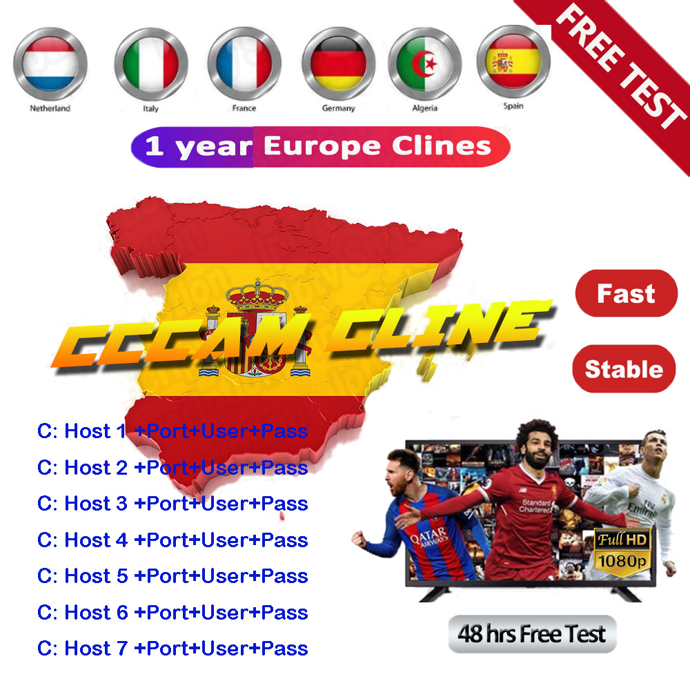 2019 The Most Stable Cccams For Europe Spain 7 Line Cccam Satellite Tv Receiver 7 Clines WIFI FULL HD DVB-S2 Support Ccams