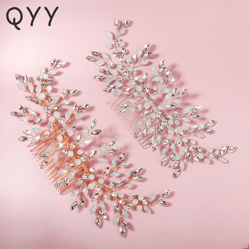 QYY Fashion Crystal Flower Hair Comb Clips for Women Accessories Bridal Wedding Hair Jewelry Bride Headpiece Party Gifts