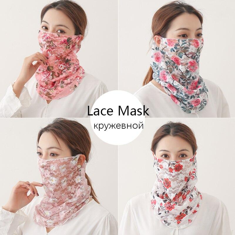Women Silk Face Scarves Neck Wraps Ring Snood Hair Band Head Kerchief Sunscreen Face Scarves Print Cover Bandana 2020 New