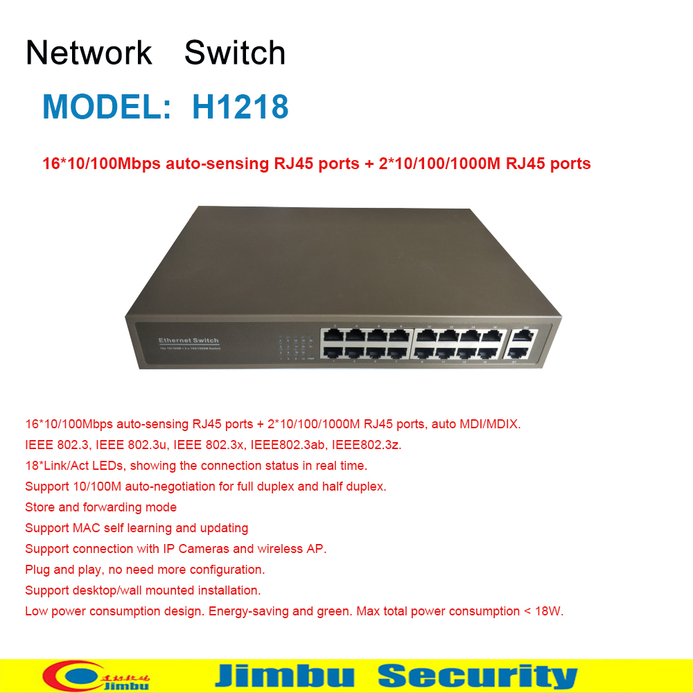 Network Switch ONV H1218 16*10/100Mbps Auto-sensing RJ45 Ports + 2*10/100/1000M RJ45 Ports (Auto MDI/MDIX)