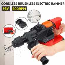 98V 800RPM Brushless Electric Cordless Hammer DC Lithium-Ion Battery Chargers Rotary Impact Drill Power Drill Electric Drill(China)