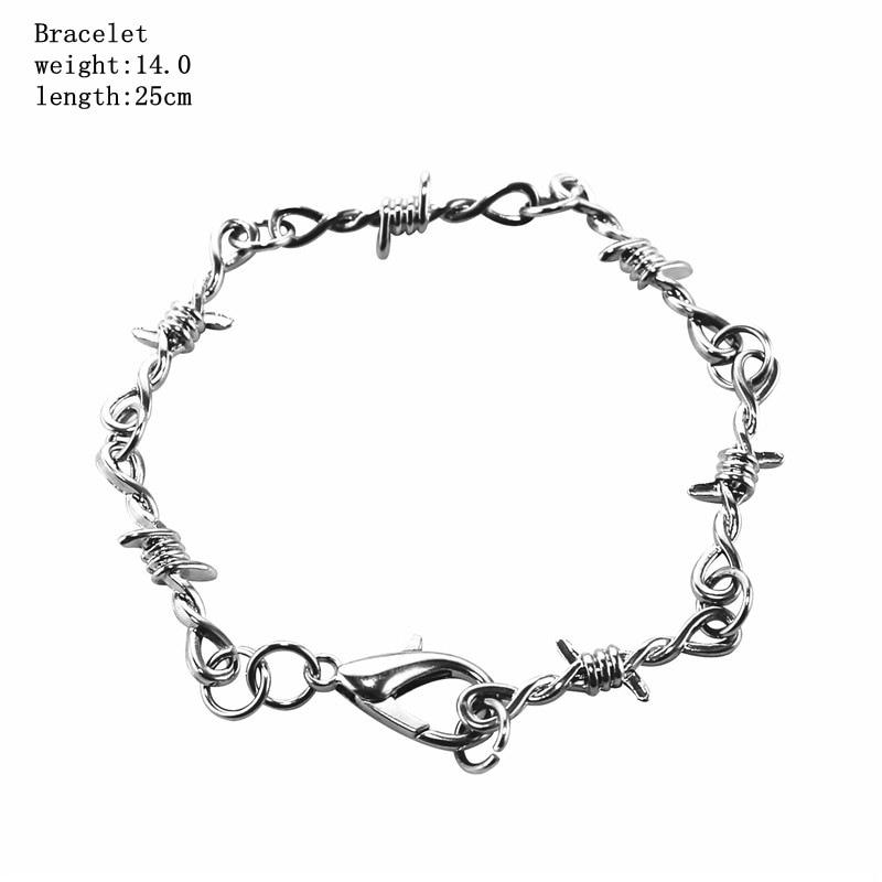 1 Pcs Punk Gothic Alloy Barbed Wire Brambles Link Bracelet Bangle Jewelry Hip-pop Choker For Women Men Couple Unisex Nightclub
