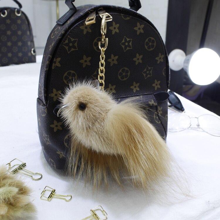 New style mink fox fur bird doll pendant cute and furry car ornament key chain bag pendant