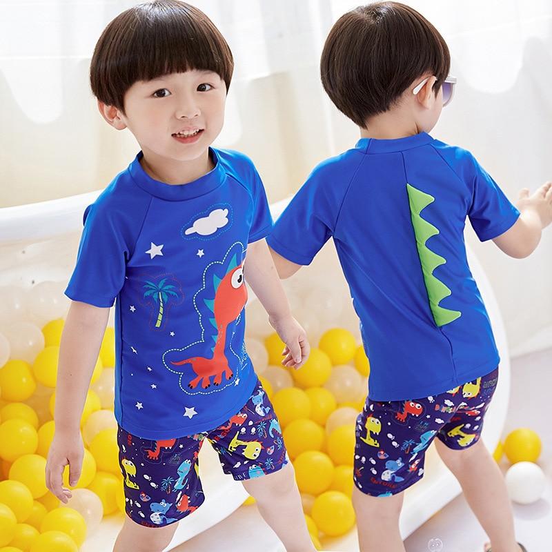2019 New Style KID'S Swimwear BOY'S Split Type Tour Bathing Suit Big Kid Baby Cartoon Dinosaur Boy Swimwear Wholesale
