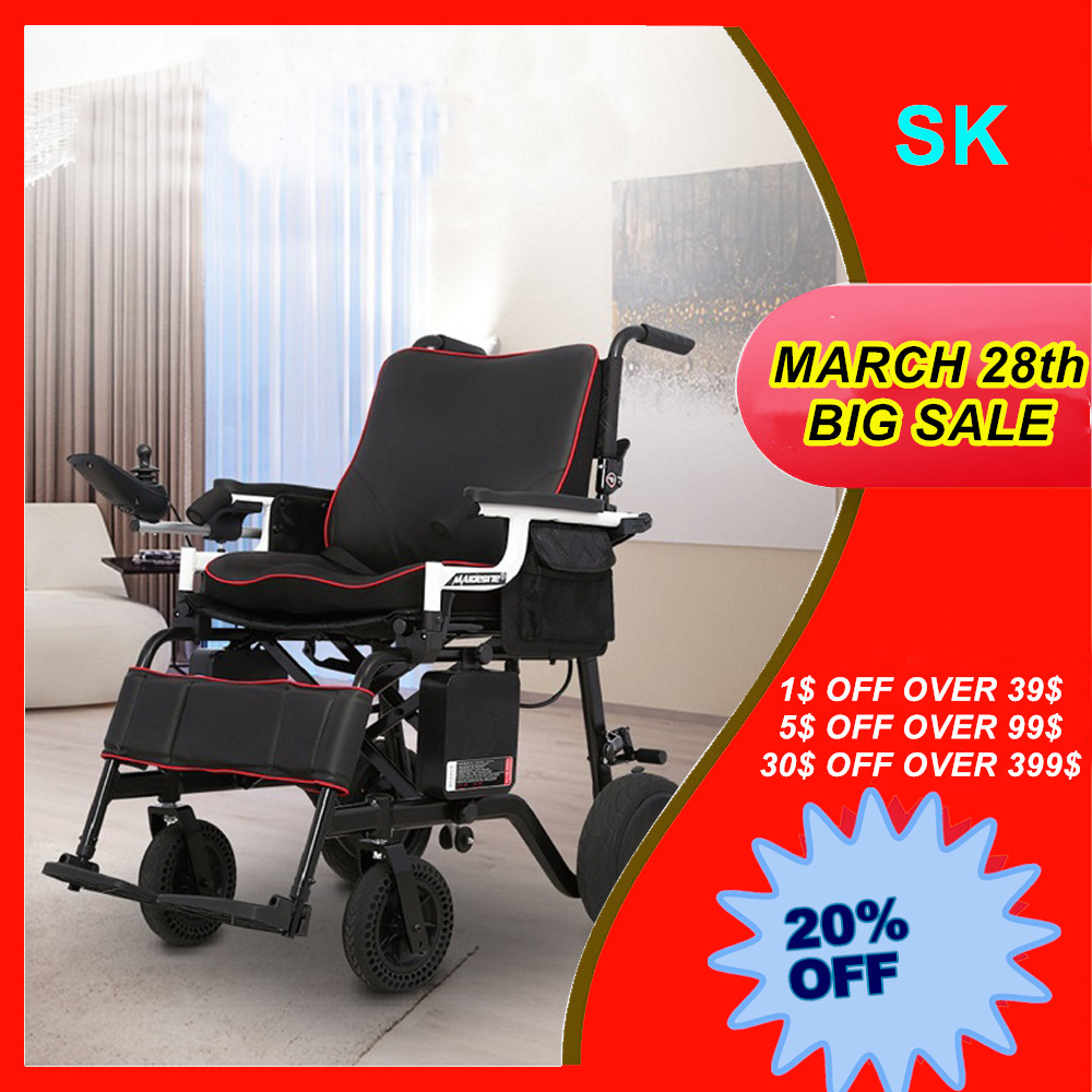 FoldLite Electric Wheelchair Power Foldable Compact Mobility Lightweight, Non-slip Longger Driving Range Heavy Duty