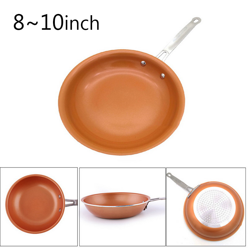 New 8/10 Inch Non-stick Copper Frying Pan With Ceramic Induction Skillet Coating Induction Cooking Pans Kitchen Supplies