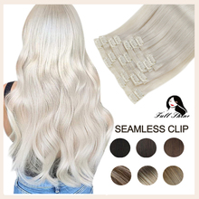 Full Shine Invisible Clip in Hair Extensions Real Hair 8Pcs 100g Pure Color Blond Hair Seamless Clip On Remy Extension Skin Weft