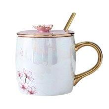 Вишня в цвету Керамика кружки с крышкой золотые ложка костяного фарфора Кофе молоко чашки керамическая кружка для завтрака для Для Женщин Влюбленных, друзей г