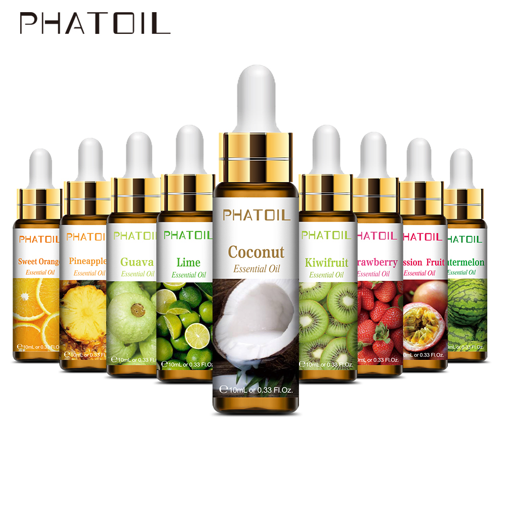 10ml with Dropper Pure Fruit Fragrance Essential Oil Diffuser Strawberry Mango Musk Banana Coconut Aroma for Candle Soap Making-0