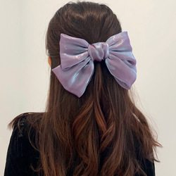Fashion Ribbon Hairgrips Big Large Bow Hairpin For Women Girls Satin Trendy Ladies Hair ClipSweet Cute Barrette Hair Accessories