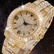 18K Gold Men Watch Role iced out Mens Quartz Watches Hip Hop Bling Full Diamonds Clock Hours Stainless Steel Reloj Hombre 2020