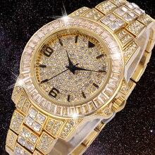 18K זהב גברים שעון תפקיד אייס החוצה Mens קוורץ שעונים היפ הופ בלינג מלא יהלומי שעון שעות נירוסטה פלדת Reloj Hombre 2020