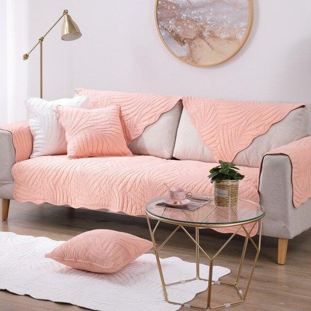 Фото комбинированный чехол для дивана из хлопковой ткани на все сезоны