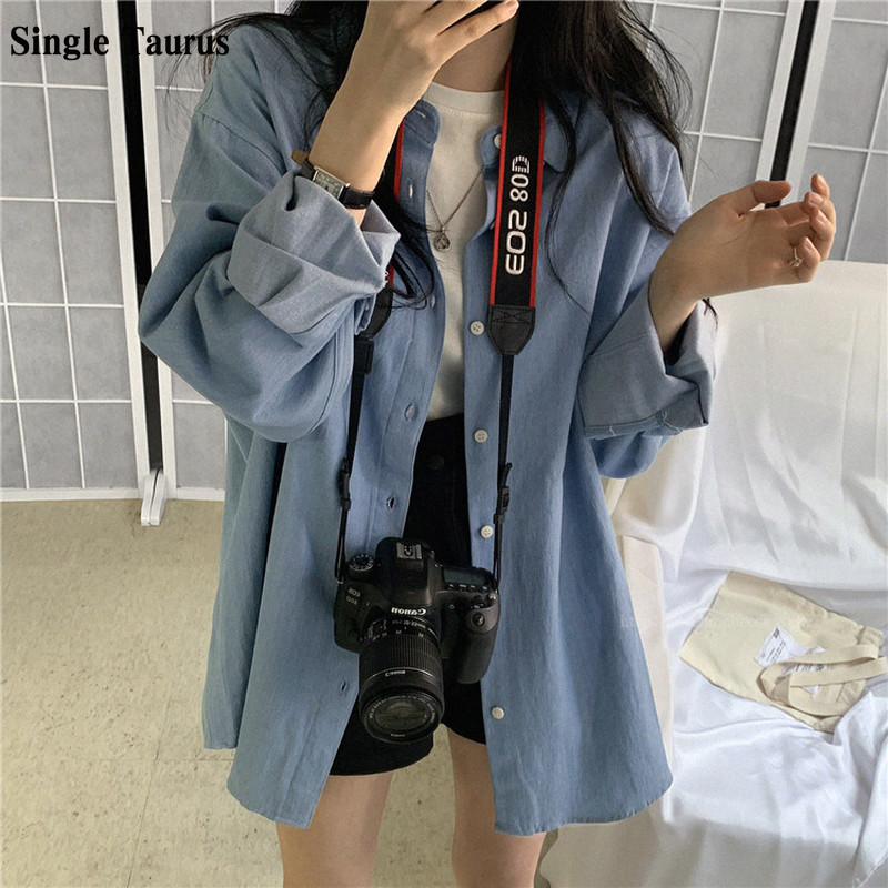 Autumn Women's Thin Denim Coat Long Sleeve Sun Protection Clothing Vintage Loose Long Length Streetwear Jeans Female Jacket 2020