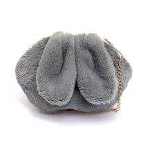 Новая плюшевая сумка на одно плечо с цепочкой, милая сумка через плечо с кроликом из мультфильма для девочек, детская сумка, Осень-зима