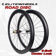 ELITE 700c Road Disc Bicycle Carbon Wheels Novatec D411 6 Bolt OR Center Lock Clincher Tubular Tubeless  Road Bike Wheelset