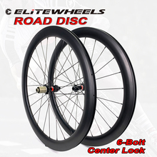 ELITE 700c yol disk bisiklet karbon tekerlekler Novatec D411 6 Bolt veya merkezi kilit kattığı tübüler Tubeless yol bisikleti tekerlek