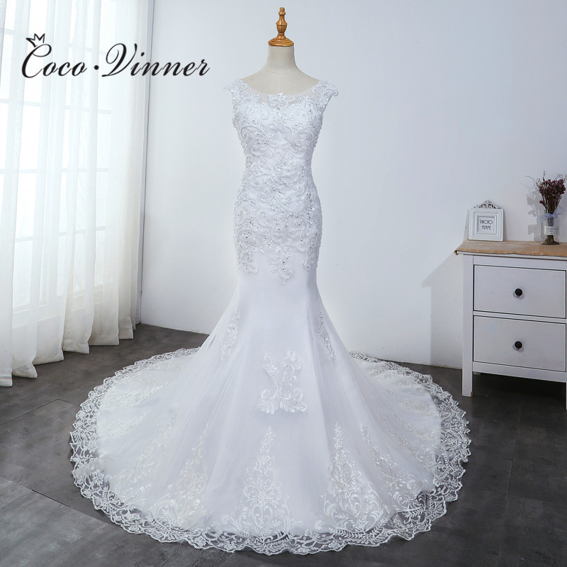 Boat Neck Lace Appliques Mermaid Wedding Gown Pure White Plus Size Wedding Dress Beatuiful Beading Embroidery Bride Dress WX0040
