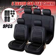 9Pcs 5 Zits Auto Vol Seat Cover Pu Lederen Anti Slip Zitkussen Cover Protector Mat Voor Ford Fiesta voor Vw/Passat Voor Bmw
