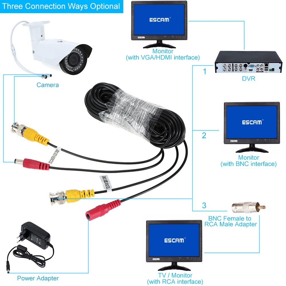ESCAM 10~60M CCTV DVR Camera Recorder system Video Cable DC Power Security Surveillance BNC Cable