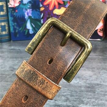 Retro 4.3CM Pin Belt Buckle Luxury Thick Belts Men Leather Vintage Yellow Belt Men Wide Jeans Ceinture Black Waist Belt MBT0019 2