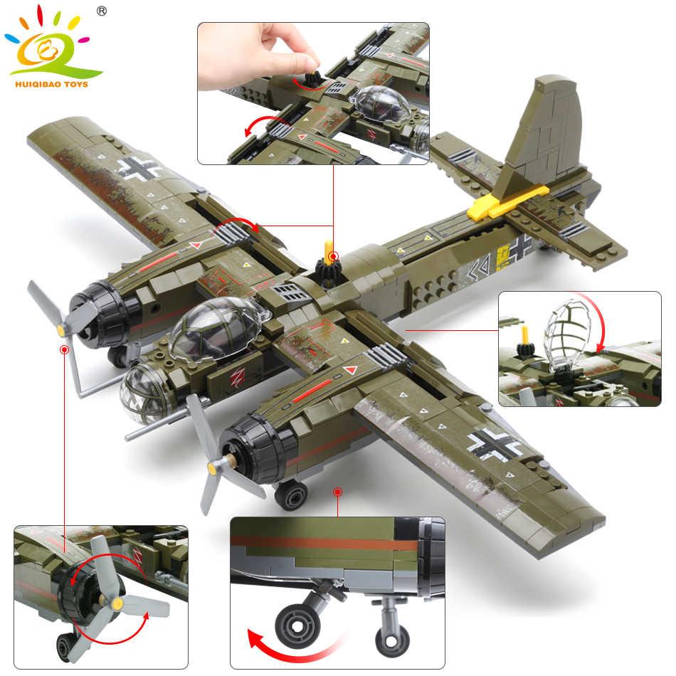 HUIQIBAO 559pcs Militare Ju-88 Bombardamento Aereo Building Block WW2 Elicottero Esercito Arma Soldato Mattoni Modello Kit Giocattolo per I Bambini