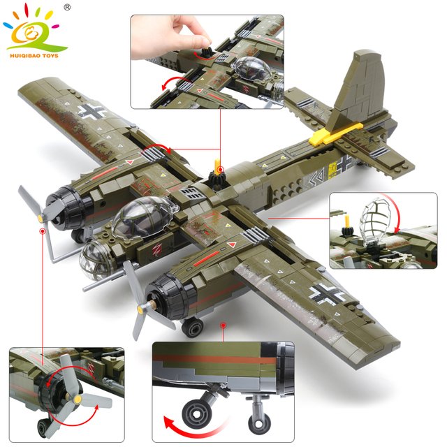 HUIQIBAO 559pcs Military Ju-88 bombing plane Building Block WW2 Helicopter Army weapon soldier model bricks kit Toy for children