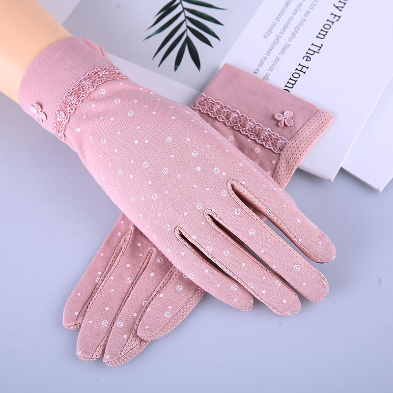 Women's Printed Touch Screen Fingerless Gloves Lace Decoration Outdoor Short Sunscreen Non-slip Driving Gloves