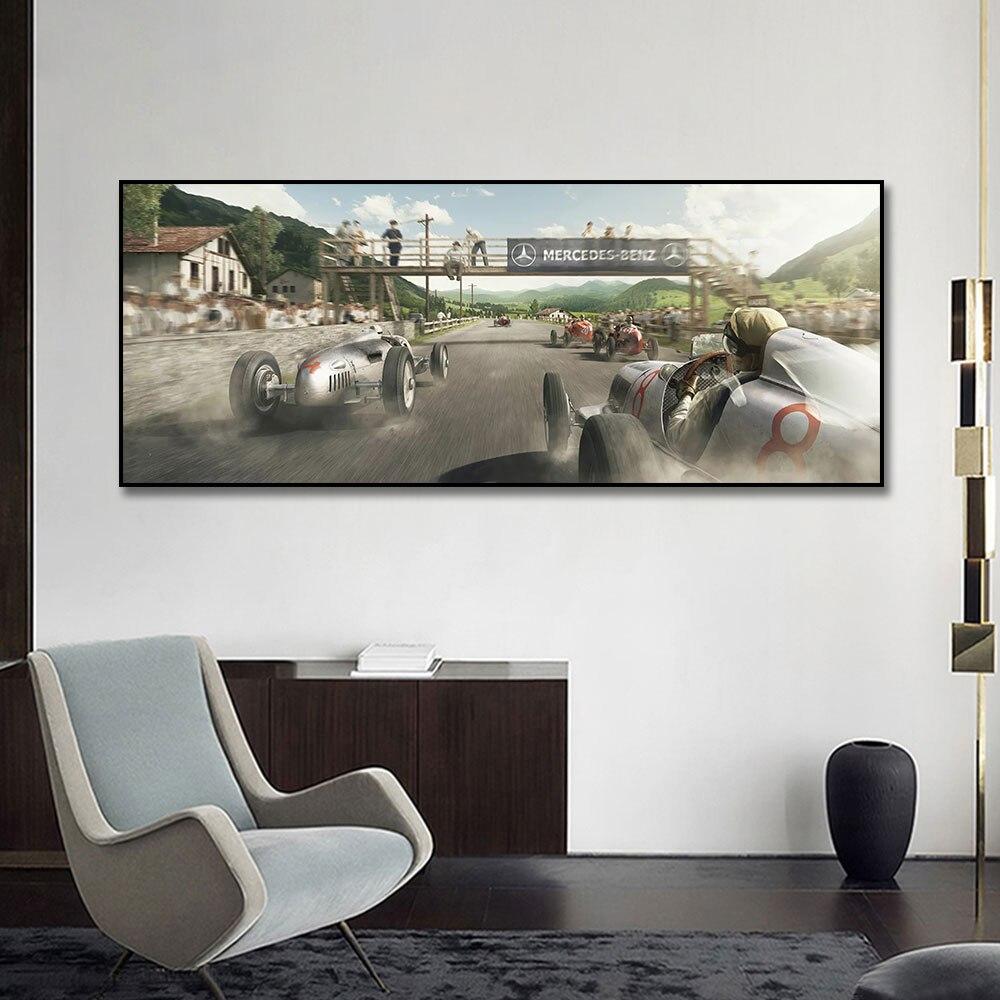 Taşlı yaşam yarış araba posteri tuval boyama baskı ev dekor duvar sanat resmi oturma odası ev dekorasyon için çerçevesiz