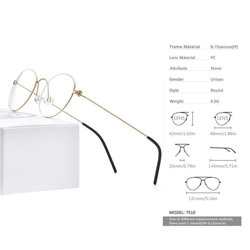 Fonex B Titanium Miopia Optik Kacamata Bingkai Kacamata Pria Resep Korea Putaran Mata Kacamata Nirsekrup Eyewear 7510