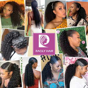 Image 5 - Racily Hair Afro Kinky Curly Ponytail Human Hair For Women Remy Brazilian Wrap Around Drawstring Ponytail Clip In Hair Extension