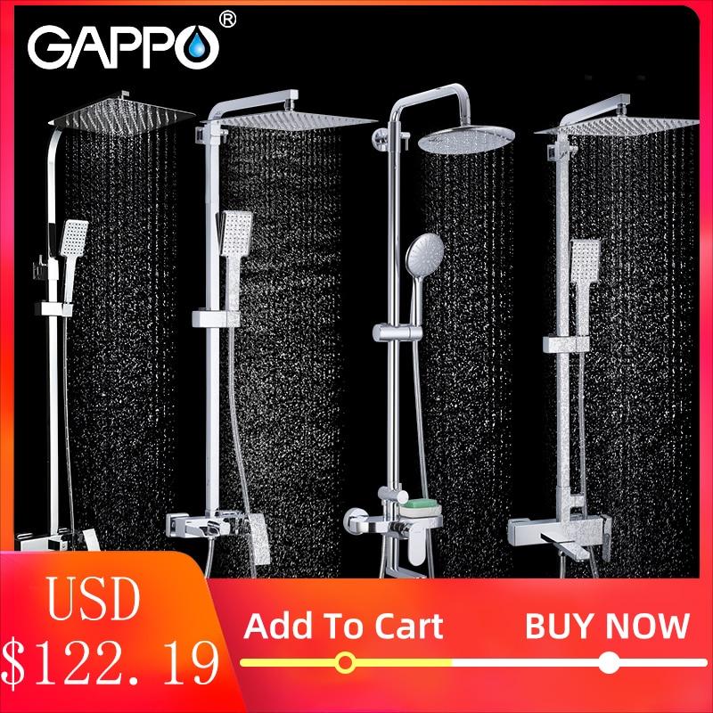 Gappo conjunto torneira do chuveiro do banheiro banheira torneiras misturador do chuveiro de banho cachoeira cabeça de chuveiro misturadora
