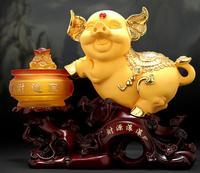 Make a fortune pig decoration treasure pot golden pig exchequer billow Handicraft pig household decorations