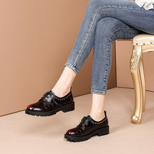 2021 new spring women's Shoes Genuine Leather Stone embossed+Metal rivets natural leather Ladies Shoes Rubbed leather 2 colors