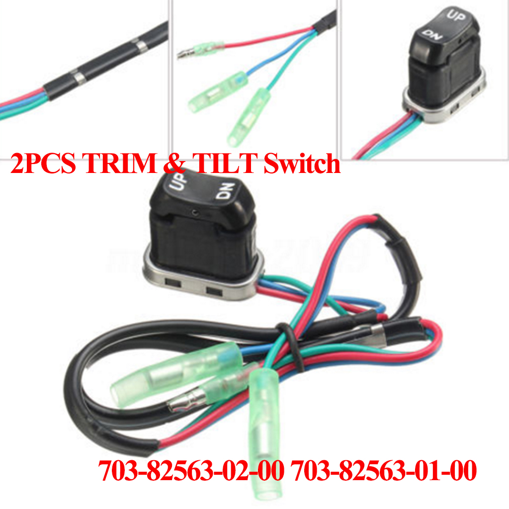 2x Boat Motor 703-82563-02 703-82563-01 Trim & Tilt Switch Replacement For Yamaha Outboard Engine Remote Control Box