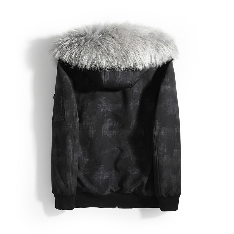Parka Real Fur Coat Men Winter Jacket For Men Hooded Natural Raccoon Fur Liner Short Winter Jackets Mens Parkas 19987