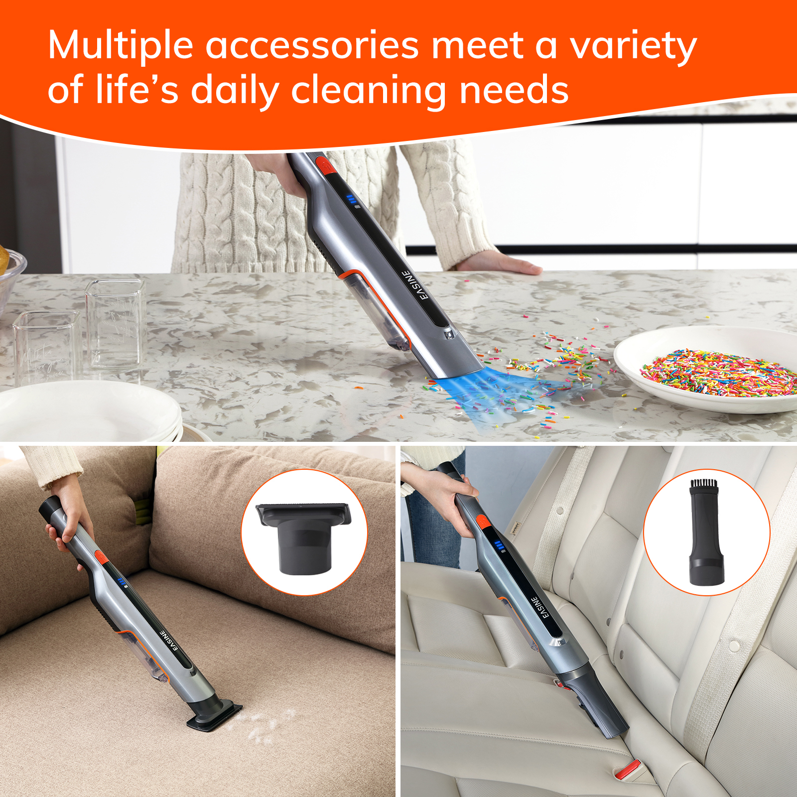 EASINE by ILIFE M50 Handheld Car Vacuum Cleaner – 14,500Pa Powerful Suction,  Type-C & USB Charging, 2 Hours Fast Charge 6