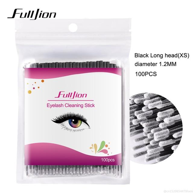 100Pcs Disposable Eyelash Cotton Swab Micro Brushes Eyelashes Extension Cleaning Sticks Brushes for Eyes Mascara Remove Makeup 4