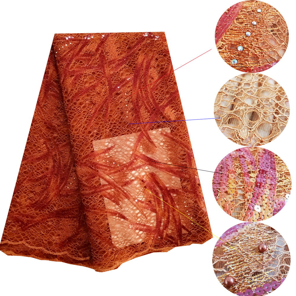 Burnt orange lace fabric with beads stones sequin lace fabric embroidered high quality african wedding lace fabric for women