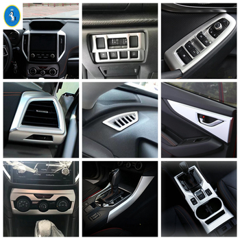 Yimaautotrims Inner Door Handle Bowl Frame / Head Lights Lamp Switch Button Panel Cover Trim For Subaru XV Crosstrek 2017 - 2020 image
