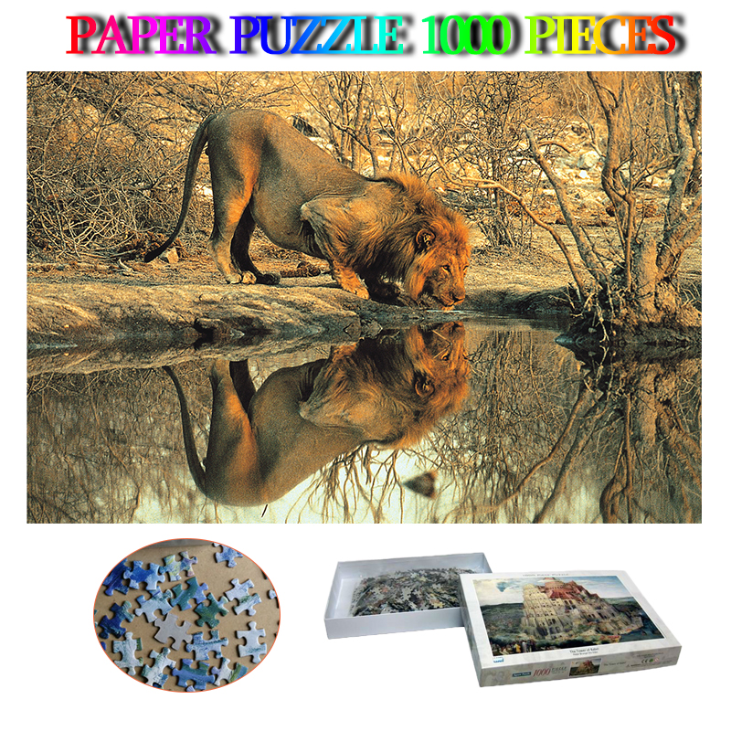 Male Lion Jigsaw Puzzle 1000 Pieces Paper Animal Adults 1000 Pieces Puzzle Toys For Adult Kids Decompression Puzzle Nice Gifts