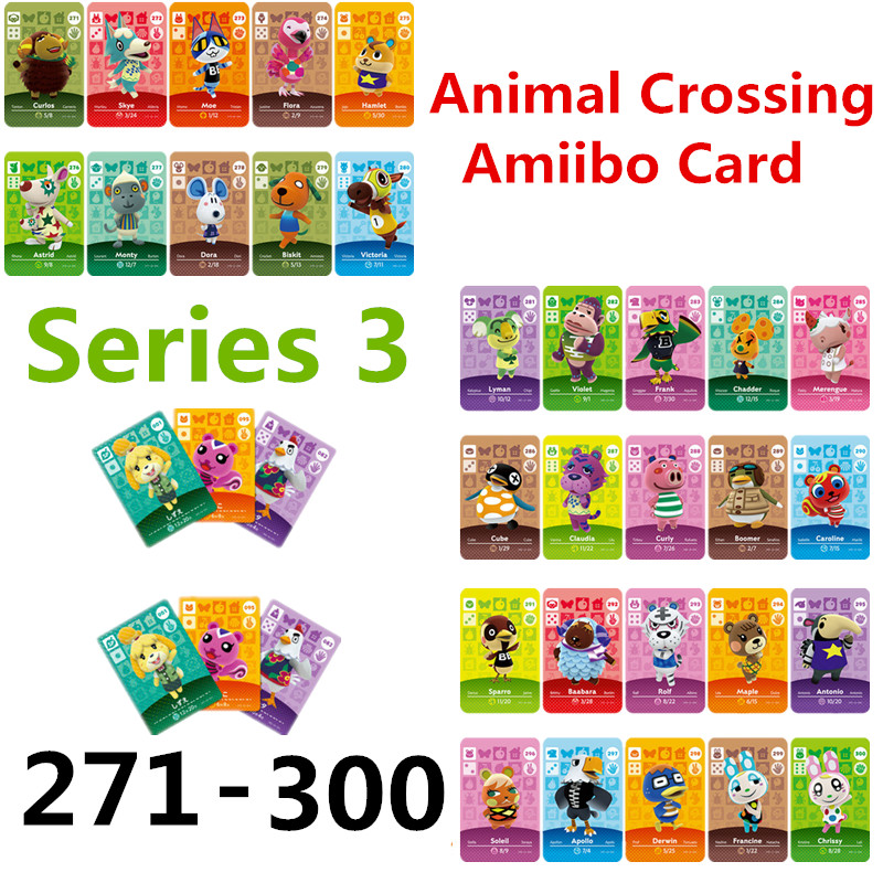 Animal Crossing Card Amiibo Card Work For NS Games Switch Rosie Welcome Stickers Amibo Ankha NFC Series 3 (271to 300)