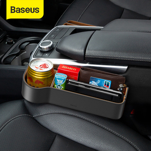 Image 1 - Baseus Car Seat Gap Organizer Leather Large Capacity Auto Storage Box Pocket Holder For Phone Airpods Organizer in the Car